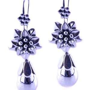 Flower hook silver earrings