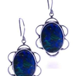 Azurite-Malachite-Hook Earrings